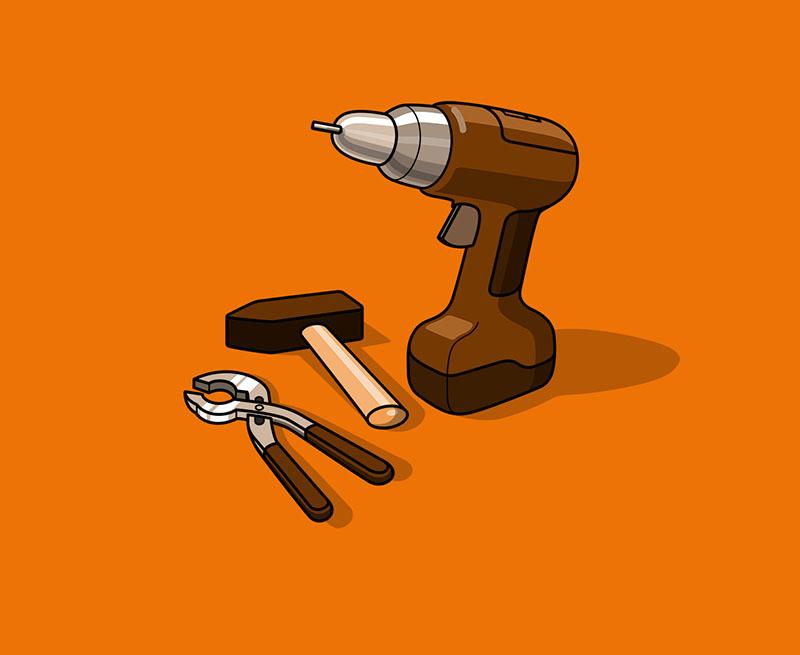 Bohrmaschine und Ring Gabel set